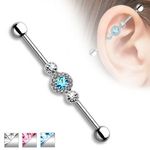 Industrial Scaffold Piercing Bar with Three CZ Gems